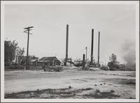 Remains of pumping plant and burning oil