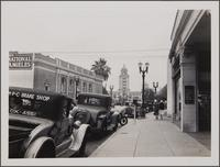 [Beverly Hills, looking up Santa Monica Blvd toward city hall; Security First National Bank in left foreground toward northeast]