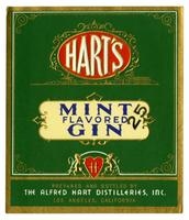 Hart's mint flavored gin, The Alfred Hart Distilleries, Los Angeles