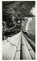 Golden Gate Bridge construction, view from south tower toward Baker Beach