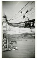 Golden Gate Bridge construction workers on catwalks during cable spinning