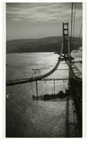 Golden Gate Bridge construction, view toward south tower