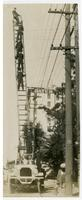 Fire fighters on ladder truck, Engine Co. No. 28, Los Angeles