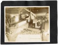Workers sorting oranges, California