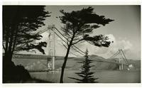 Golden Gate Bridge construction, view from east of Fort Point during paving of roadway