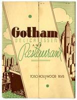 Menu, Gotham Delicatessen and Restaurant, Hollywood