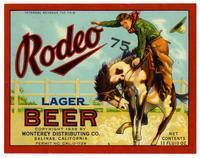 Rodeo lager beer, Monterey Distributing Co., Salinas