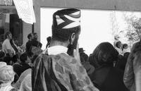 African dress cap worn at Japantown Cherry Blossom Festival