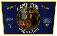 Virden's Camp Fire Brand pure lard, Virden Packing Company, San Francisco