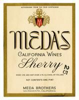Meda's California Wines, sherry, Meda Brothers, Sacramento