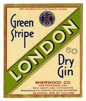 Green Stripe London dry gin, Sherwood Co., San Francisco