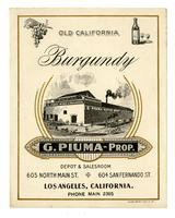 Old California Burgundy, G. Piuma, Los Angeles