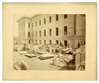 Construction of the U.S. Mint, N. side showing 5th & Jessie at left, San Francisco