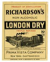 Richardson's non-alcoholic London dry, Prima Vista Company, New York-San Francisco