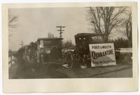 Men and automobiles at a foot and mouth disease inspection post, circa 1924