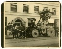 Horse drawn fire engine decorated with flowers, Los Angeles