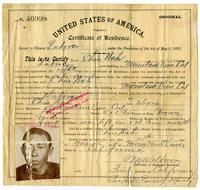 Certificate of residence for Chin Wah [?], farmer, age 36 years, of Mountain View, California