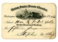 Admission ticket to the United States Senate Chamber