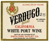 Verduco Brand California white port wine, Distillers Outlet Co., Los Angeles