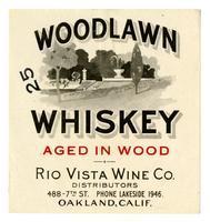 Woodlawn whiskey, Rio Visa Wine Co., Oakland