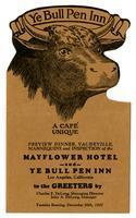 Menu, Ye Bull Pen Inn, Los Angeles