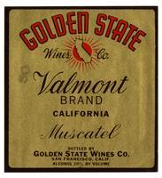 Valmont Brand California muscadet, Golden State Wines Co., San Francisco