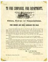 To Fire Companies, Fire Departments, Cities, Towns or Corporations. Fire Engine and Hose Carriage for Sale.