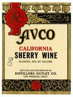 Avco California sherry wine, Distillers Outlet Co., Los Angeles