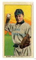 Claude Berry, catcher, San Francisco Seals, 1910, Obak cigarette card