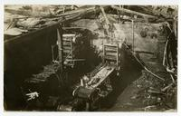 Destruction from fire, building interior, Los Angeles