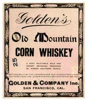 Golden's Old Mountain corn whiskey, Golden & Company, San Francisco