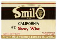 Smil-O California sherry wine, Smilo Wineries & Bottling Co., Fresno