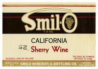 Smil-O California sherry wine, Smilo Wineries & Bottling Co., Fresno