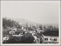 View from Bunker Hill Avenue toward northeast; oldest oil derricks, Mexican neighborhood