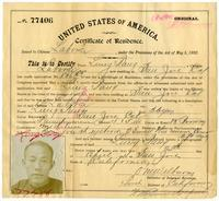 Certificate of residence for Lung Tang, laundryman, age 36 years, of San Jose, California