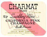 Charmat Brand California pink Champagne, Cella Wine Company, Fresno
