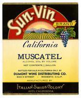 Sun-Vin Brand California Muscatel, Italian Swiss Colony, Asti