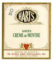 Hart's green creme de menthe, The Alfred Hart Distilleries, Los Angeles