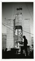Golden Gate Bridge construction, silhouette of worker