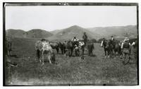 Men and horses in the field, Rancho Santa Anita