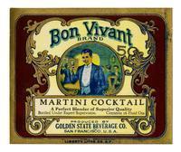 Bon Vivant Brand Martini cocktail, Golden State Beverage Co., San Francisco