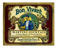 Bon Vivant Brand Martini cocktail, Golden State Beverage Co., San Francisco