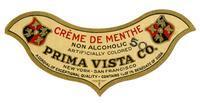 Non-alcoholic crème de menthe, Prima Vista Co., New York-San Francisco