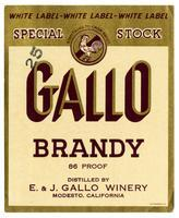Gallo brandy, E. & J. Gallo Winery, Modesto