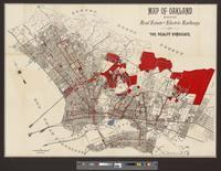 Map of Oakland showing real estate and electric railways of the Realty Syndicate