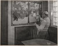 Lester Vardre, painter of the historical murals in Dubenhoff's bar the Brewery, Benicia, Solano County, California
