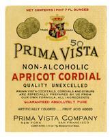 Prima Vista non-alcoholic apricot cordial, Prima Vista Company, New York-San Francisco
