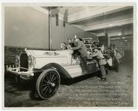 Fire fighters and fire engine of Truck Co. No. 7, Los Angeles, May 29, 1915