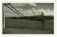 Golden Gate Bridge construction, horizontal view of catwalks from Marin
