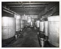 Oil settling room where oil and water are separated, California